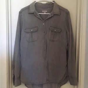 Grey denim button up